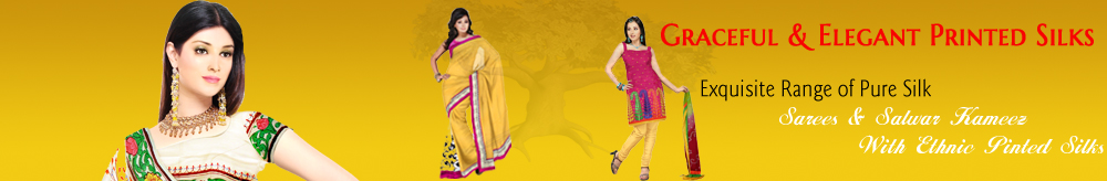 Printed silk salwar kameez & saris  in wide range of fancy colors with Indian ethnic printings are quite chic and fashion.